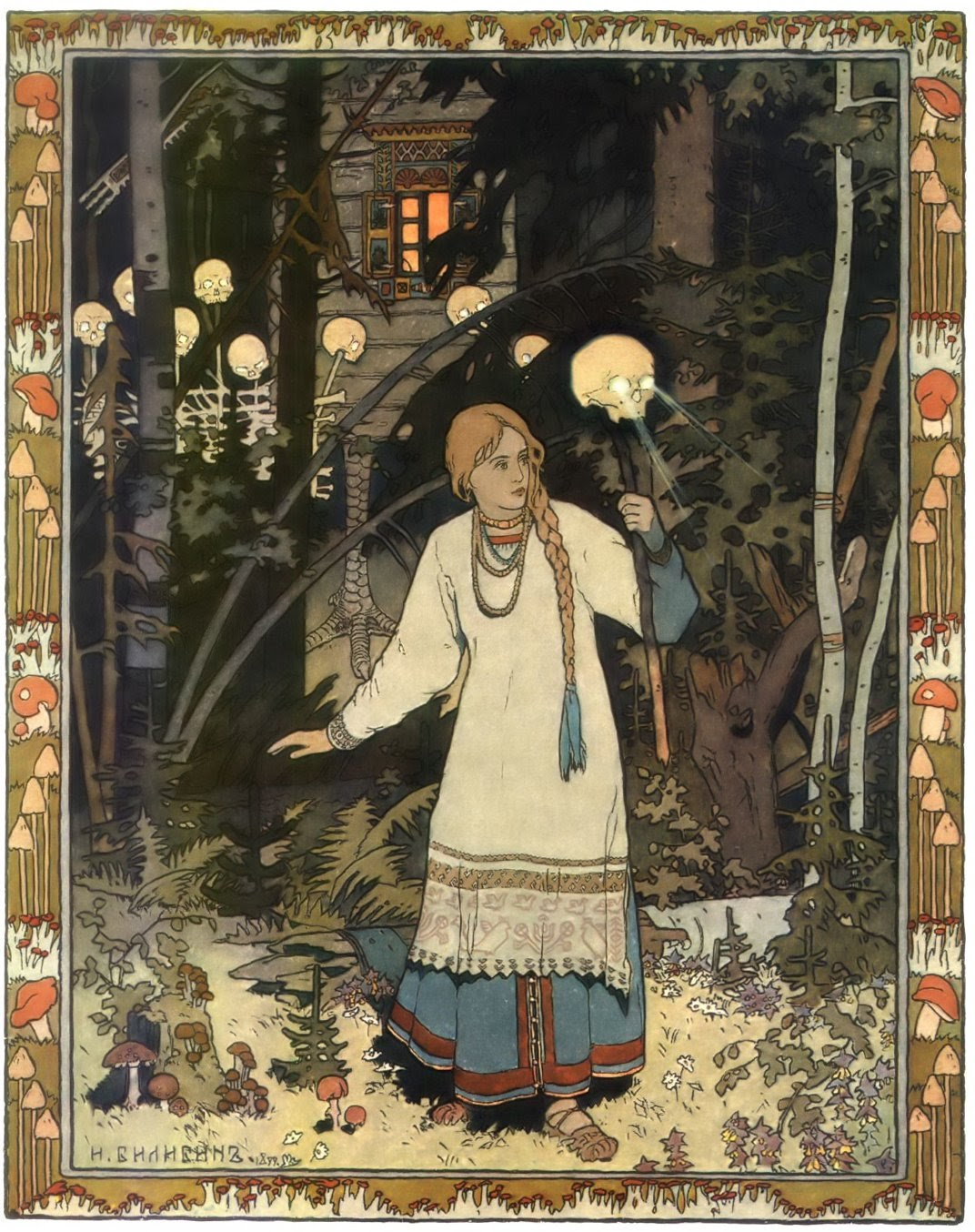 woman with long braid and cloak walking through the forest using a skull on a stick with light shining out of the eyes as a flashlight with there are more skeletons and a house behind her