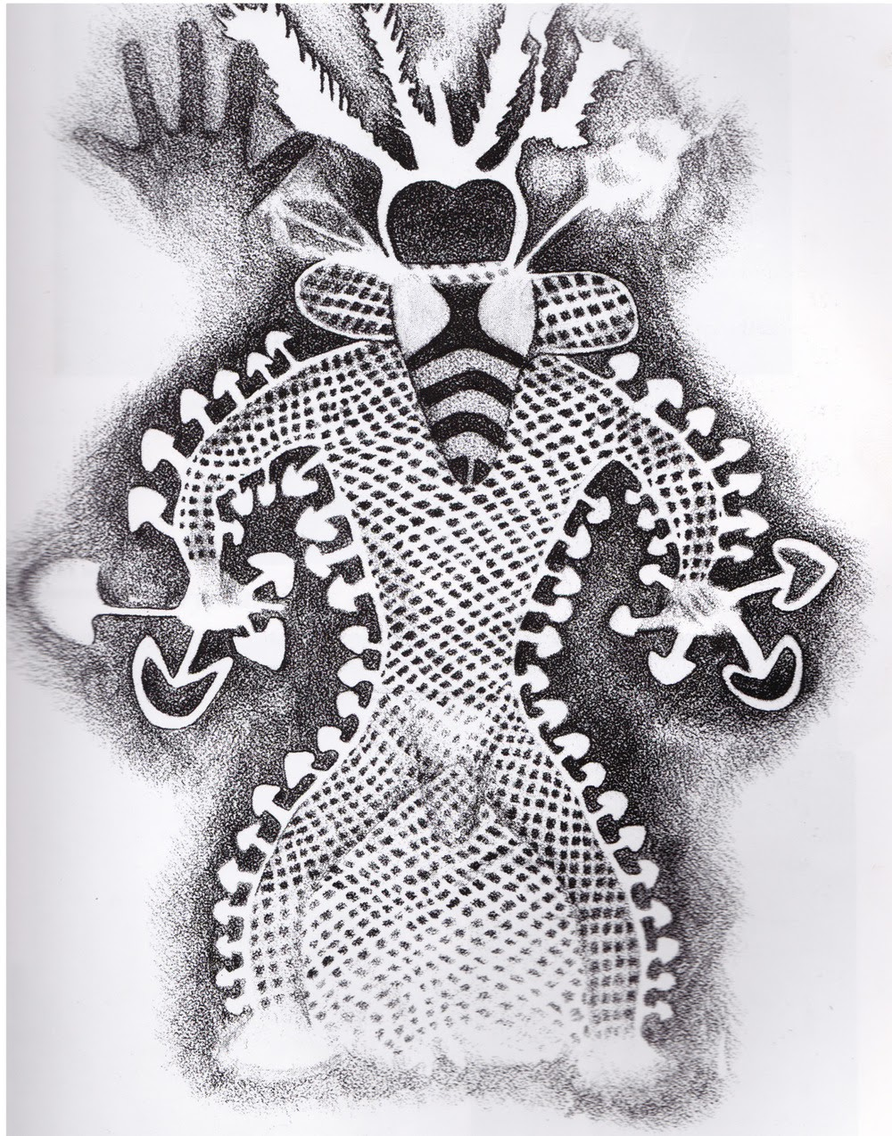 black and white cave drawing of shaman with bee head and mushrooms sprouting all around body
